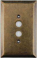 Jumbo Oversized Aged Antique Brass Stamped Single Pushbutton Switchplate / Cover Plate