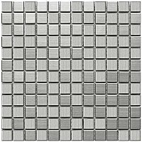 "Alloy Square 11-7/8""x 11-7/8"" Stainless Steel & Porcelain Mosiac Tile - Stainless Steel - Per Sheet- .98 Square Feet"