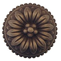 "French Style Cabinet Knob - 1-1/8"" Diameter - Antique Brass"