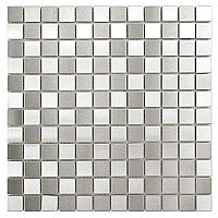 "Alloy Square Checkerboard 12""x 12"" Stainless Steel & Porcelain Mosiac Tile - Stainless Steel - Per Sheet- 1 Square Feet"