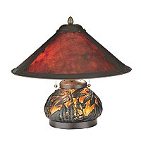 Van Erp Amber Mica Table Lamp with Lighted Base, 16""