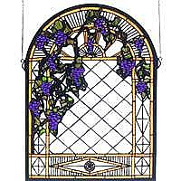 Grape Diamond trellis Stained Glass Panel