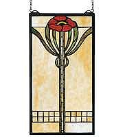 Parker Poppy Stained Glass Panel