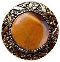 Victorian Jewel & Tiger Eye Knob, 24K Gold Plate