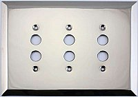 Jumbo Oversized Polished Nickel Stamped Triple Pushbutton Switchplate / Cover Plate