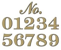 "Classic Gold Foil Adhesive House Number - 4-3/4"" high - Sold Each"