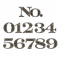 "Victorian Gold Foil Adhesive House Number - 6"" High - Sold Each"