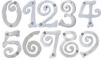 Large Scroll House Numbers - Brushed Nickel