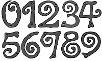 "Large Scroll House Numbers - Black - 5-1/2"" High"