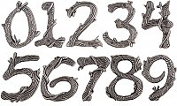 Rustic Twig House Numbers - Pewter