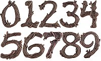 Rustic Twig House Numbers - Copper