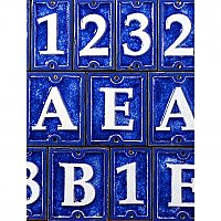 Cobalt Blue Crackled Glass House Numbers