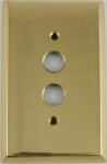 Polished Forged Unlacquered Brass Single Pushbutton Switchplate