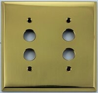 Polished Forged Unlacquered Brass Double Pushbutton Switchplate