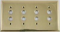 Polished Forged Unlacquered Brass Quad Pushbutton Switchplate