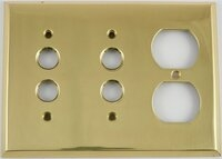 Polished Forged Unlacquered Brass Double Pushbutton/Single Duplex Switchplate