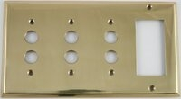 Polished Forged Unlacquered Brass Triple Pushbutton/Single GFCI Switchplate