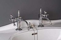 "Solid Brass ""Fuller Style"" Basin Sink Faucet - Separate Hot and Cold Taps - Polished Chrome"
