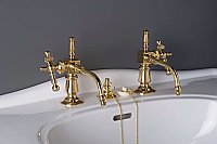 "Solid Brass ""Fuller Style"" Basin Sink Faucet - Separate Hot and Cold Taps - Polished Brass Supercoat"