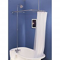 "Solid Brass Leg Tub Shower Enclosure Set, 45"" X 25"" - with Faucet, Riser, & Shower Head - Multiple Finishes Available"