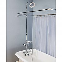 "Solid Brass Leg Tub Shower Enclosure Set, 45"" X 25"" - with Faucet, Riser, Shower Head &  Handheld Shower"