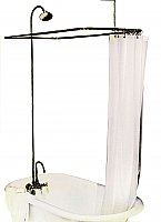 "Solid Brass Leg Tub Shower Enclosure Set, 57"" x 31"" - with Faucet, Riser, & Shower Head - Oil Rubbed Bronze"