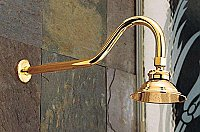 "Solid Brass 4-7/8"" Diameter Rain Shower Head with Bent Arm - Supercoated Brass"