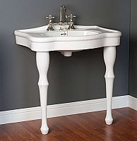 "Traditional 32"" Wide Porcelain Console Bathroom Sink and Legs"