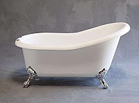 "Huron 5' Acrylic Clawfoot Bathtub - 7"" on Center Deck Mount Faucet Holes"