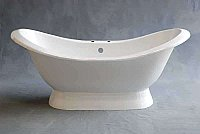 "Echo 6' Acrylic Double-Ended Pedestal Slipper Bathtub - 7"" Center Deck Mount Holes"