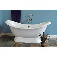 Echo 6' Acrylic Double Ended Pedestal Slipper Bathtub - No Faucet Holes