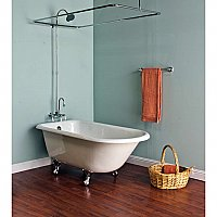 "Solid Brass Wall Mount Shower Enclosure Set, 45"" X 25"" - with Faucet, Riser, & Shower Head - Multiple Finishes Available"