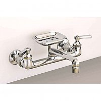 "Solid Brass 8"" on Center Deco Wall Mounted Kitchen Faucet with Soap Dish - Multiple Finishes Available"