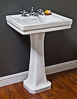 "1920's Classic 23"" Wide Porcelain Pedestal Bathroom Sink"