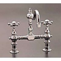 "Deck Mount Solid Brass Kitchen Faucet - 8"" on Center - Multiple Finishes Available"
