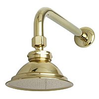 "Victorian Brass Showerhead with 12"" Shower Arm Combo, Polished Brass"