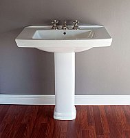 "Deco or Mid-Century 31-3/4"" Porcelain Pedestal Bathroom Sink"