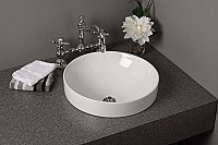 Fireclay Round Drop-in Lavatory Bathroom Sink