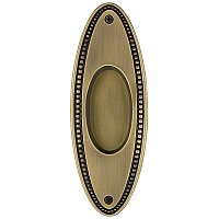 Solid Brass Oval Beaded Pocket Door Flush Pull, Antique Brass