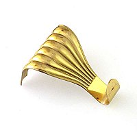 Cast Picture Moulding Hook or Hanger for Picture Rail, Polished Brass