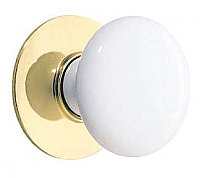 "Ice White Porcelain Cabinet Knob with Backplate - 1-3/8"" Diameter"