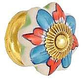 Porcelain Petal Knob, Blue & Red Flower
