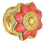 Porcelain Petal Knob, Coral & Yellow Flower