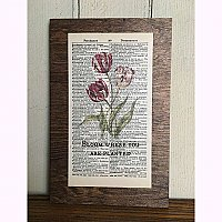 Repurposed Antique Dictionary Page Wall Decor  - Tulips- Bloom where you are planted