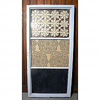 Repurposed Window Message Board, Doilies