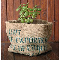 Repurposed Burlap Planter
