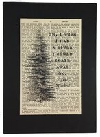 Repurposed Antique Dictionary Page Wall Decor - River - Pine Tree
