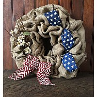 Repurposed Burlap Coffee Bag Wreath- Patriotic