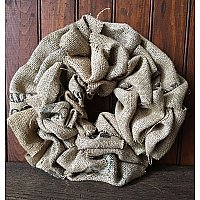 Repurposed Coffee Bean Burlap Wreath, Small