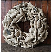 Repurposed Coffee Bean Burlap Wreath, Large